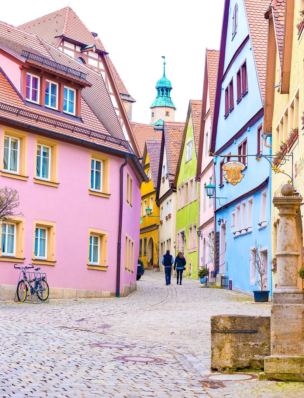 typical beautiful street in Rothenburg ob der Tauber