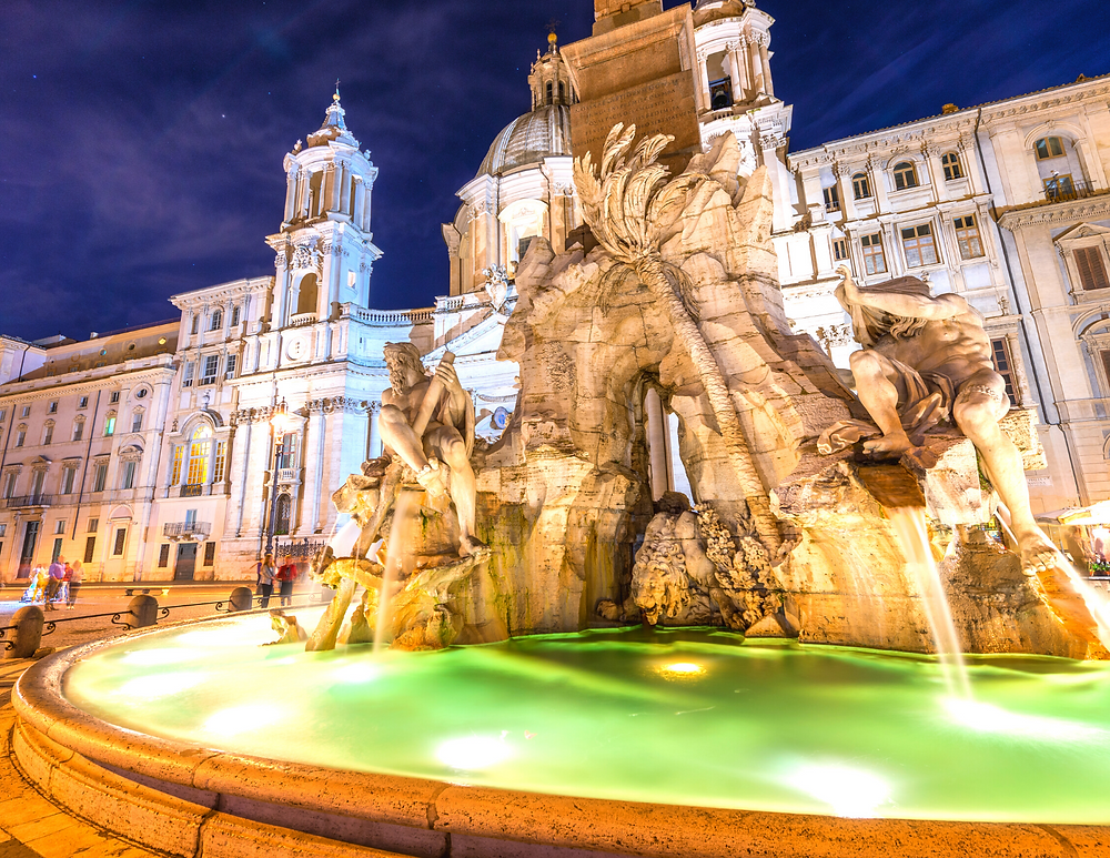 Bernini's Four River Fountain against the facade of Borromini's Sant'Agnese Church