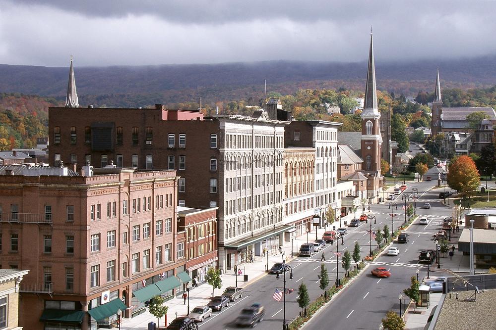 Main Street storefronts in North Adams Massachusetts