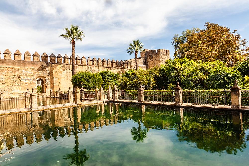 reflecting pool in the alcazar of Carmona Spain