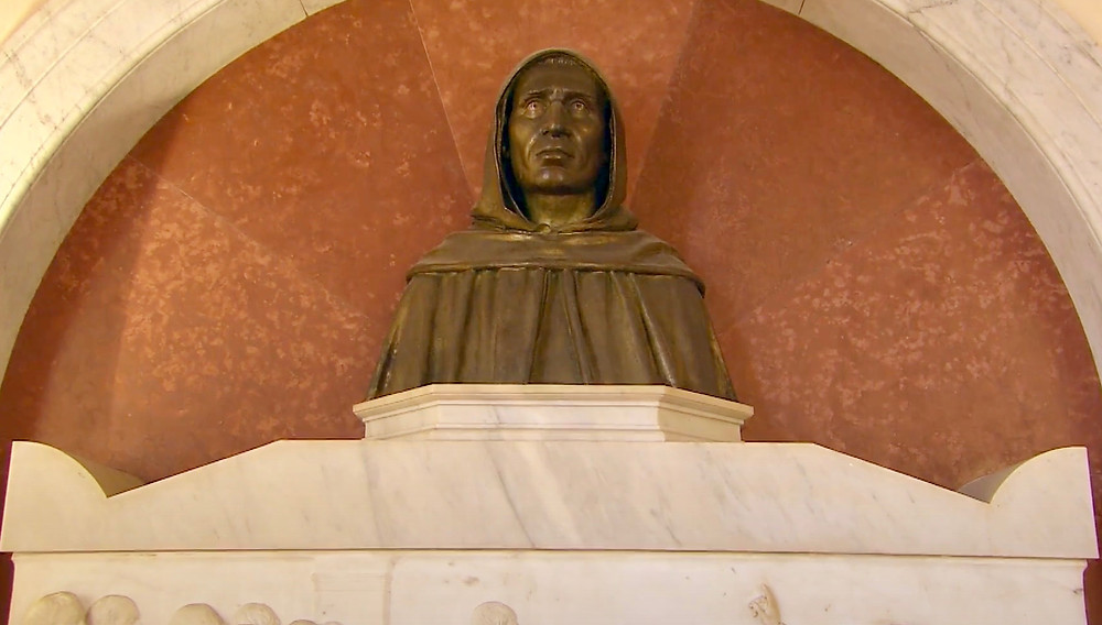 bust of Savonarola in his monastery cell