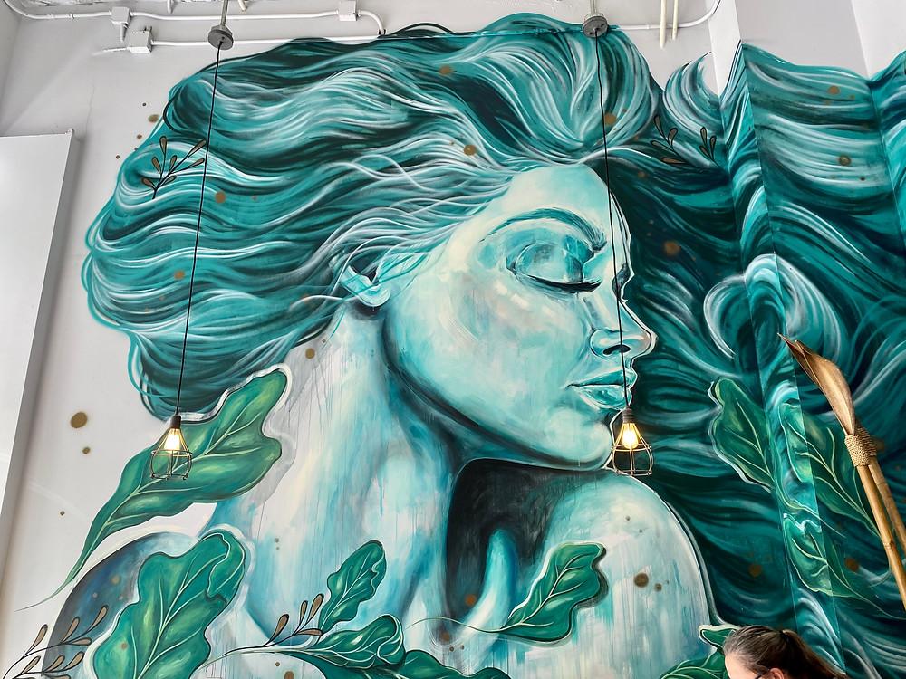 beautiful mural in Restore