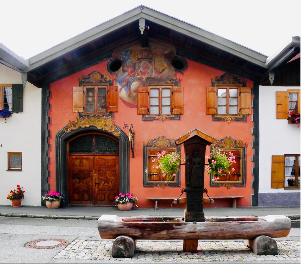 painted facade of the of Geigenbaumuseum in Mittenwald Germany