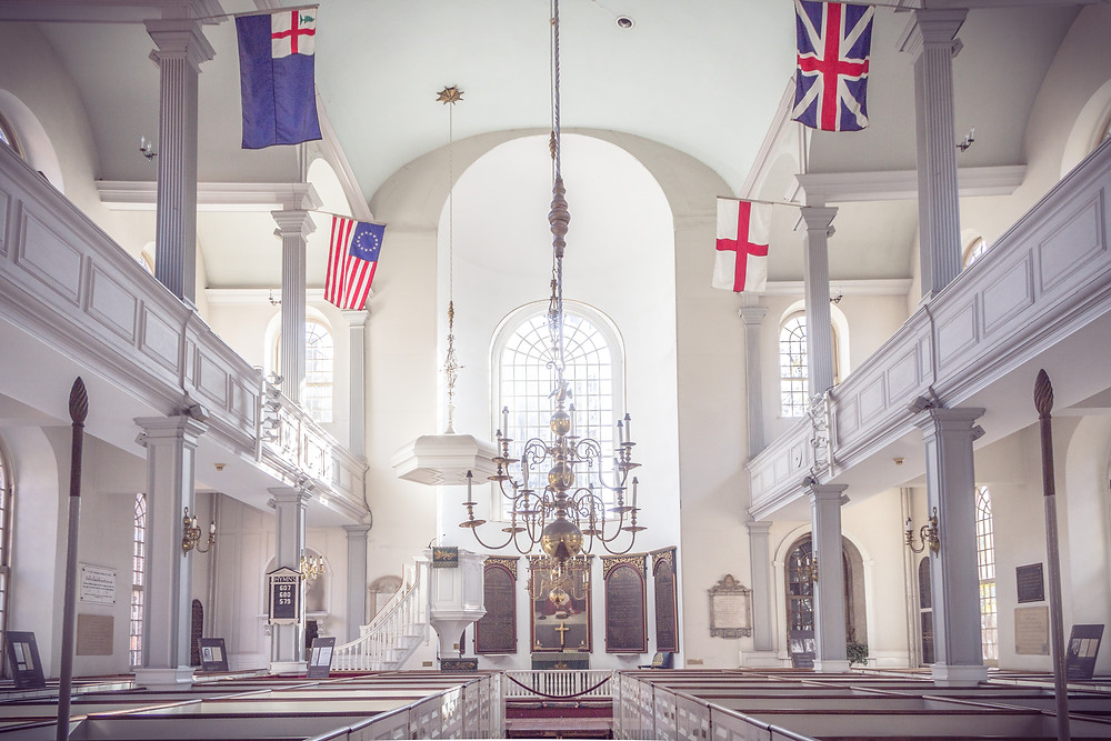 interior of Old North Church on the Freedom Trail