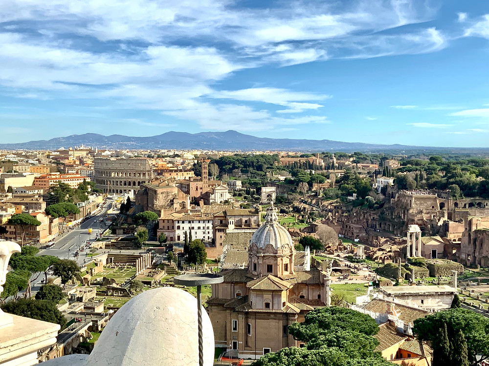 view of the Roman Forum from the Vittorio Emanuel II Monument