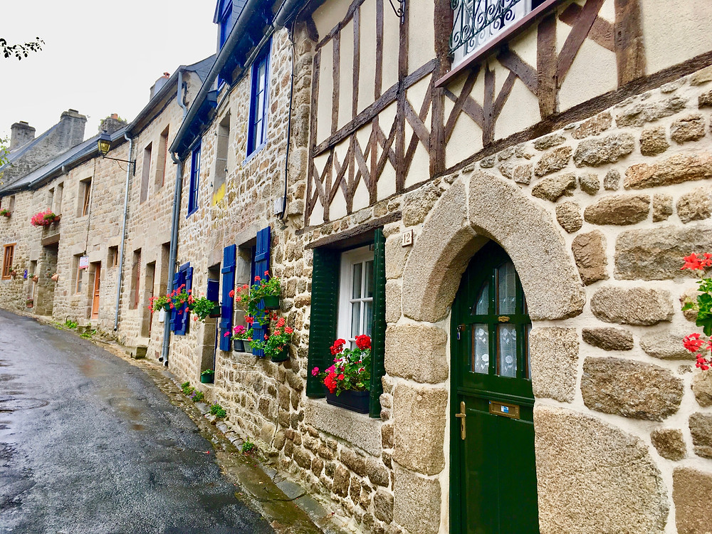 pretty street in Moncontour in Brittany France