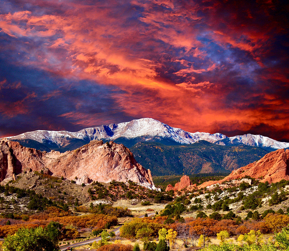 Pikes Peak Soaring over the Garden of the Gods in Colorado Springs