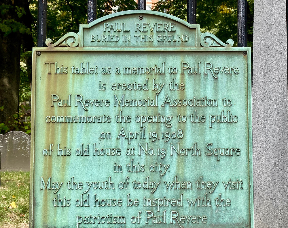 sign marking the burying ground of Paul Revere on the Freedom Trail
