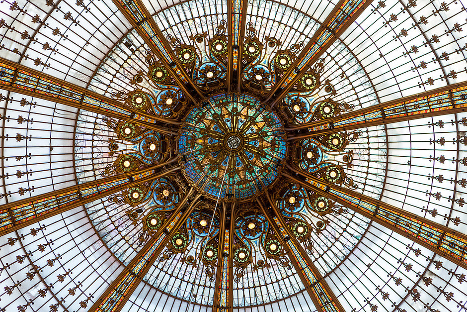 the stunning art nouveau dome of Galleries Lafayette in Paris