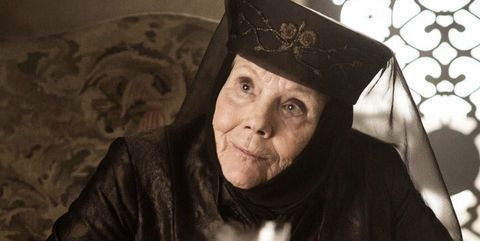 Lady Olenna gloats as she retells her murder of King Joffrey to Jaime Lannister before he kills her.  She murders Joffrey to save her daughter Margaery Tyrell from Joffrey's sadism.