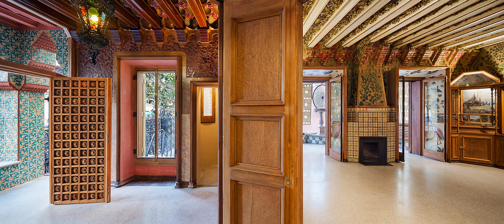 the interior of Casa Vicens with its elaborate ceilings