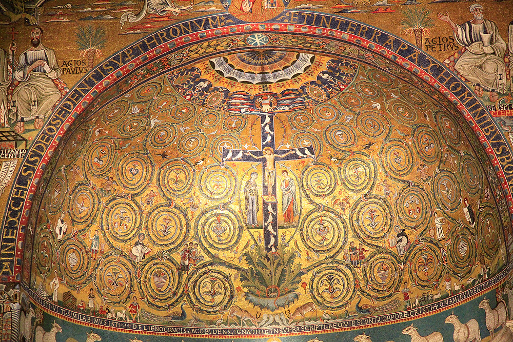 gold mosaics in the apse of San Clemente