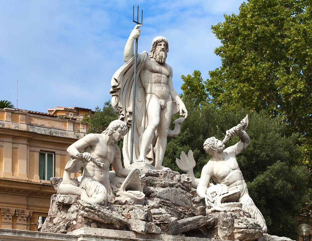 Neptune fountain in the Piazza del Popolo