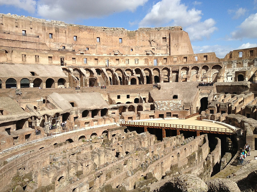 view of the Colosseum tiers and the hypogeum