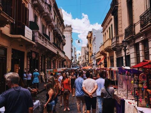 crowded streets in San Sebastian