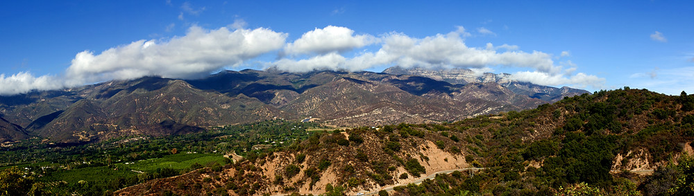 panorama of mountains above Ojai