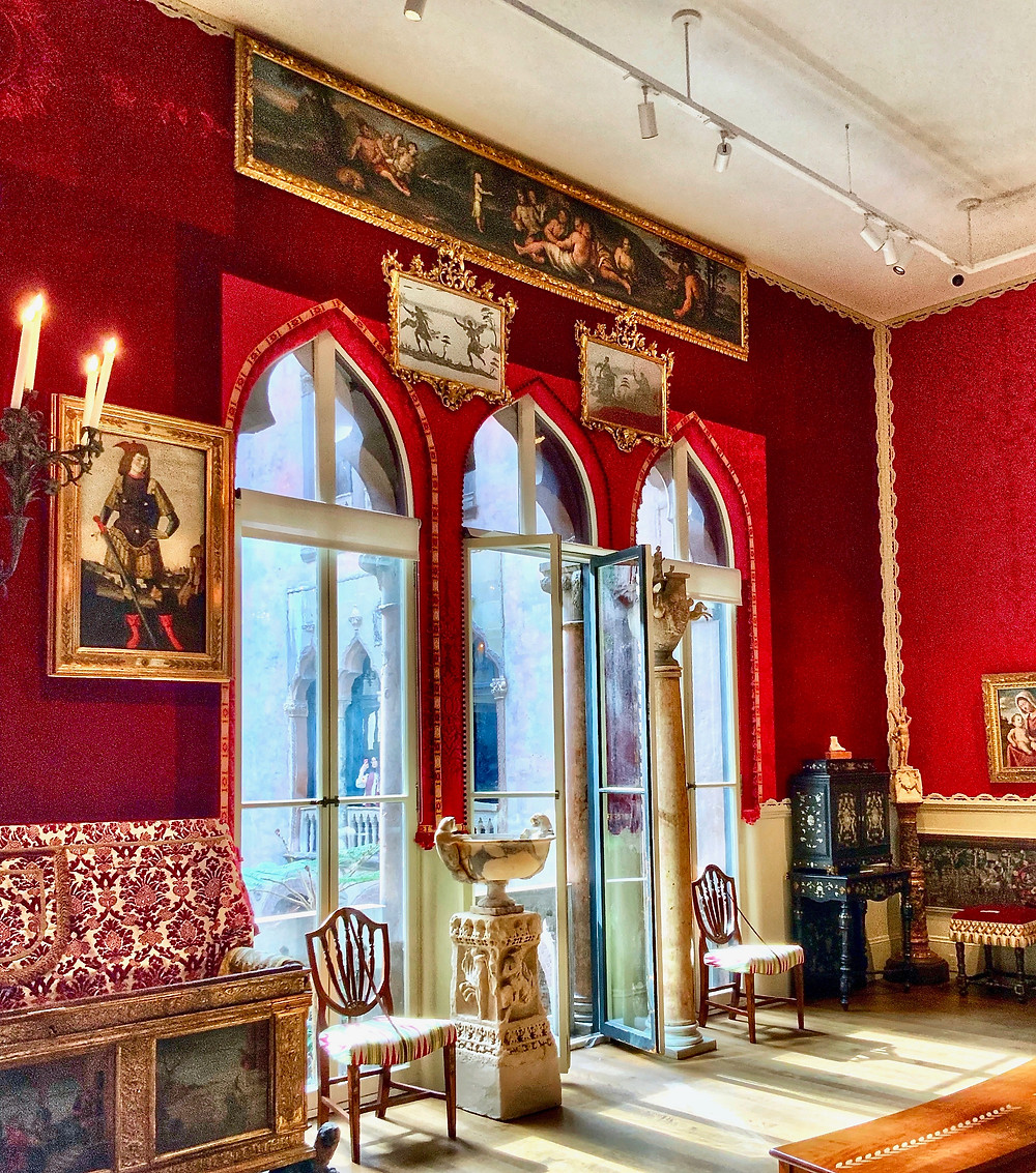 the lavish red Raphael Room in the Isabella Stewart Gardner Museum