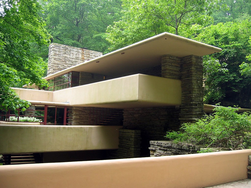 the poured concrete cantilevered terraces of Fallingwater
