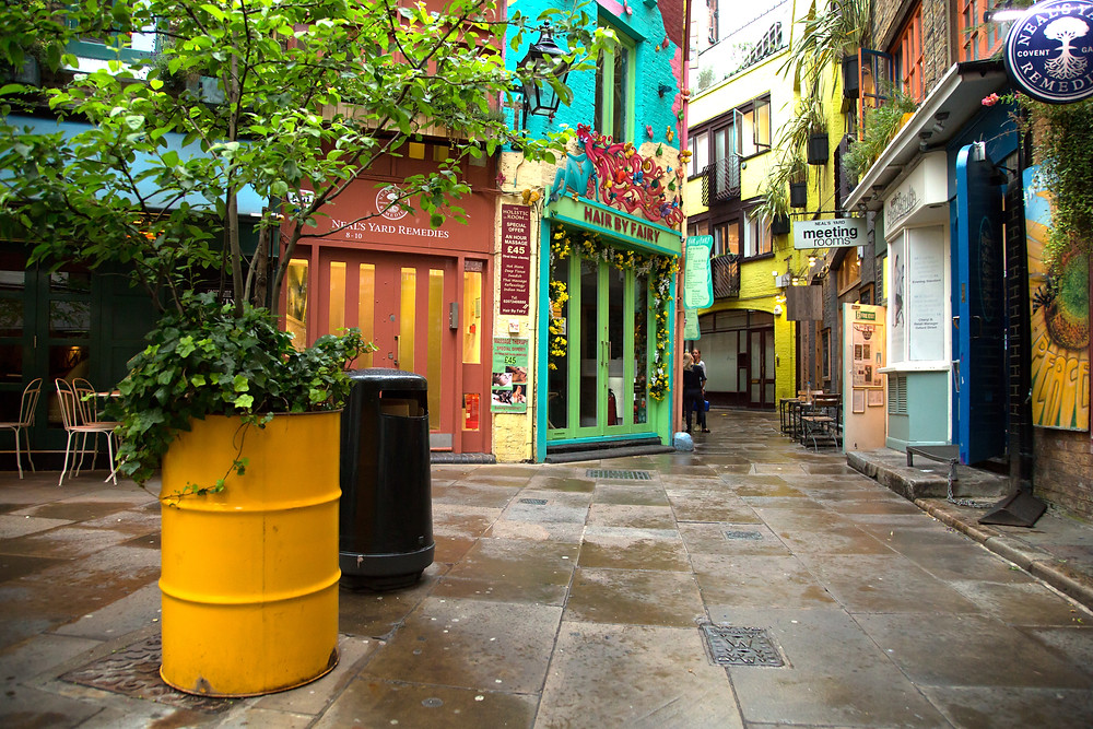 Neal's Yard is a small alley in London's Covent Garden between Shorts Gardens and Monmouth Street