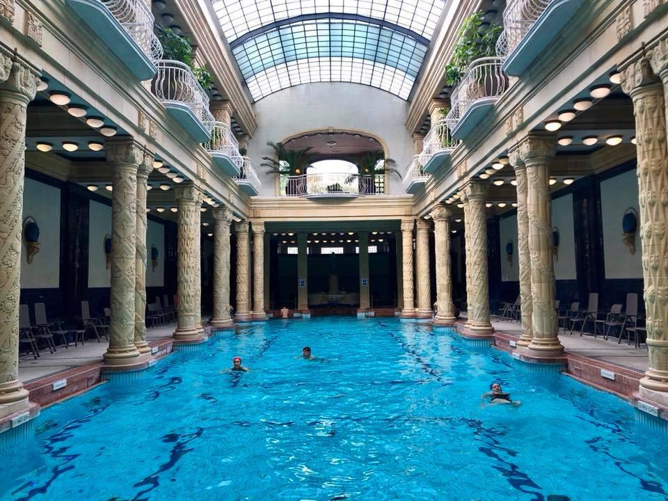 the swimming pool (no lane lines) at Gellert Spa