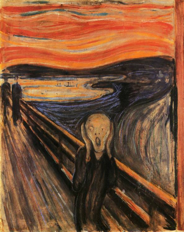 Edvard Munch, The Scream, 1893  -- it technically might be the least pleasing version of The Scream as it seems slightly unfinished.
