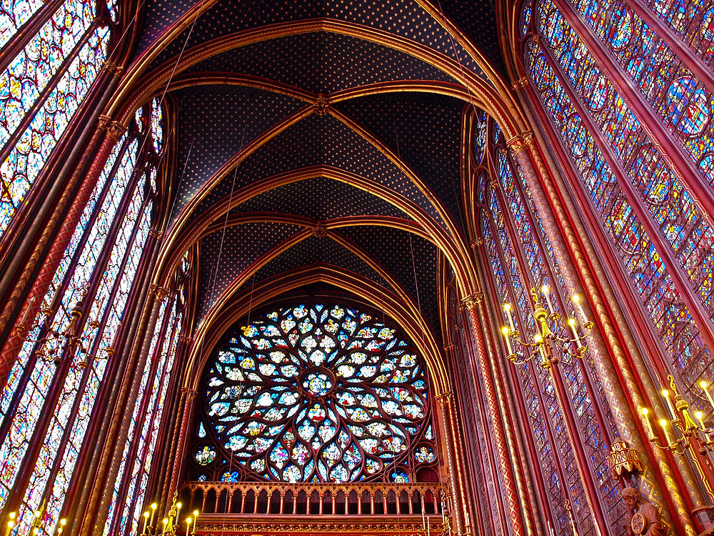 the original 13th century stained glass windows of Sainte-Chapelle