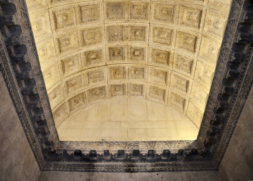 the barrel vaulted ceiling of the Temple of Jupiter in Diocletian's Palace