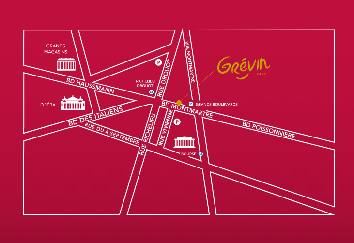 map showing where to find the Grévin Museum in Paris