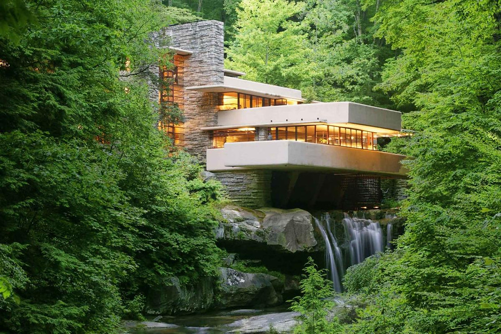 the iconic shot of Fallingwater from the official viewing point