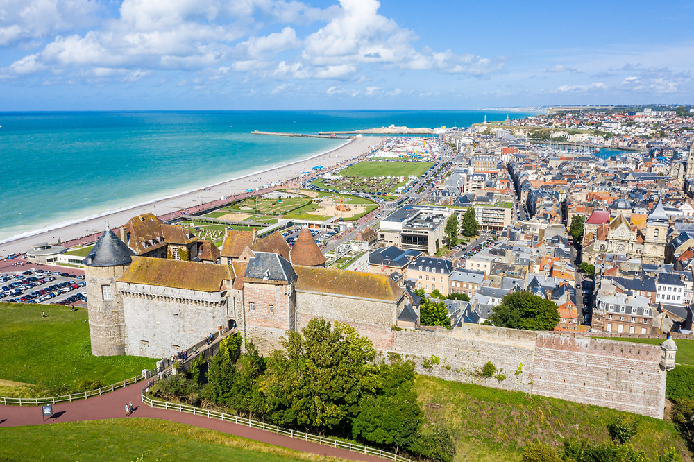 aerial view of the town of Dieppe in Normandy