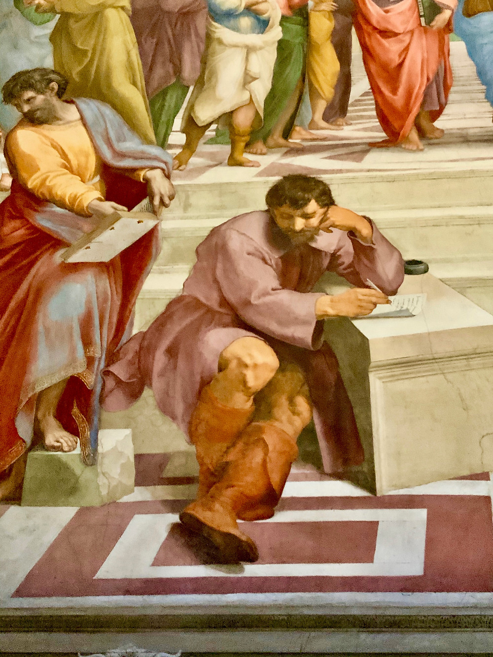 detail from School of Athens showing Raphael's portrait of Michelangelo