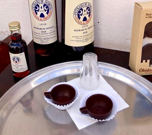 Ginjinha de Óbidos served up in a chocolate cup