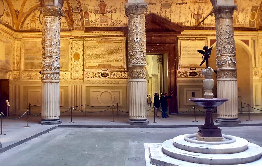 copy of Verrocchio's Putto with Dolphin in the Palazzo Vecchio courtyard