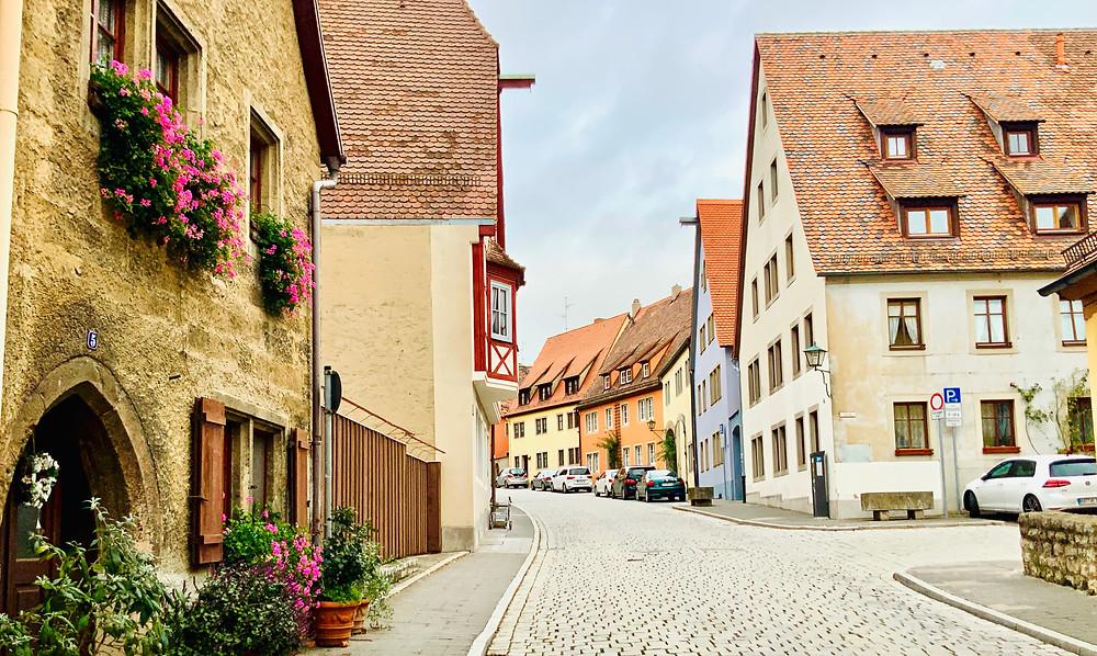 pretty side street in Rothenburg ob der Tauber in Bavaria Germany