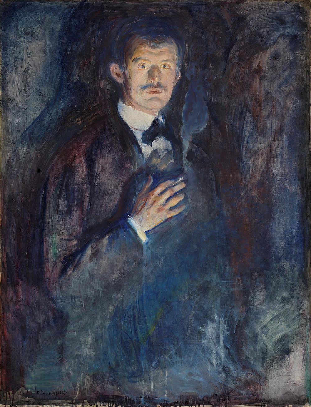 Edvard Munch Self-Portrait with Cigarette, 1895  -- here, Munch appears almost as a ghost who might disappear into the background