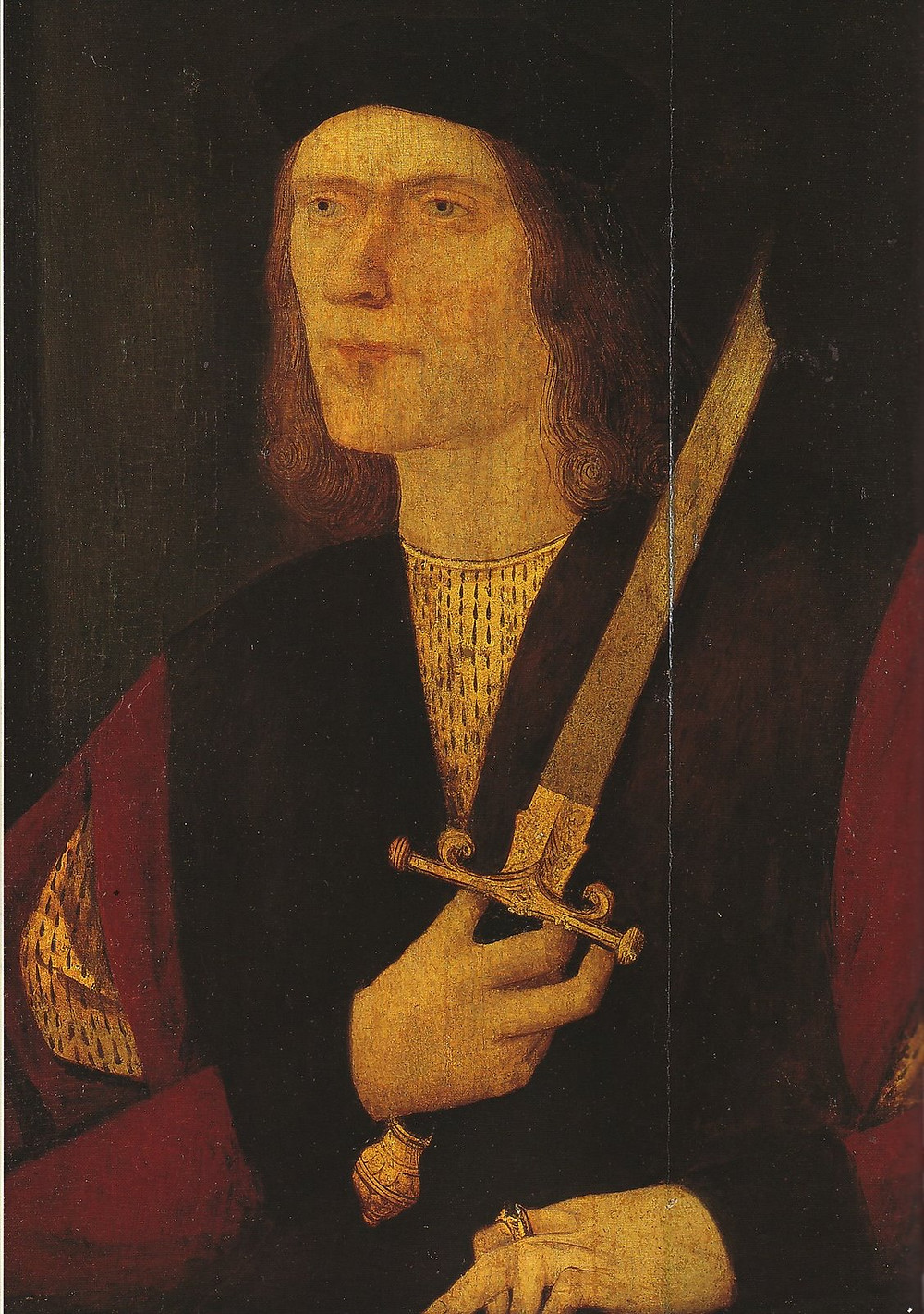 "the ""Broken Sword"" portrait of Richard III -- a Tudor era portrait inaccurately showing him with a crazy lopsided shoulders and a withered hand"