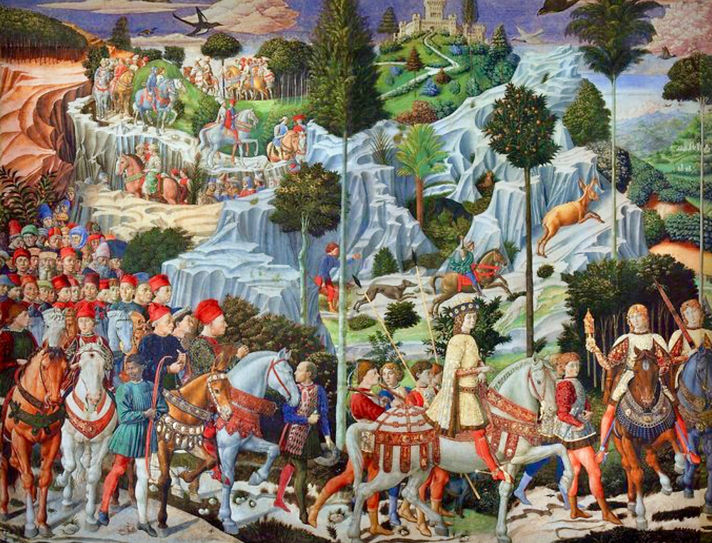 Benozzo Gozzoli frescos in the Chapel of the Magi of the Riccardi Palace, commissioned by Cosimo the Elder