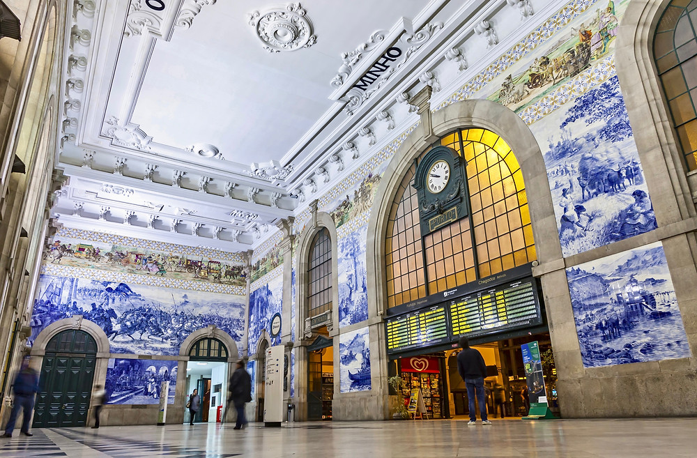 painted ceramic tiles (azulejos) in the Main hall of Sao Bento Railway Station