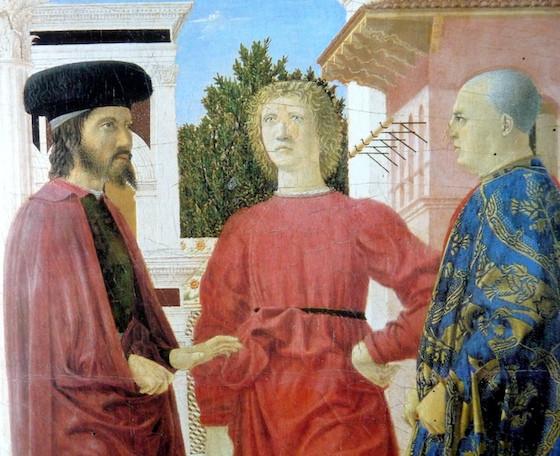 three men in foreground (detail), Piero della Francesca, Flagellation of Christ