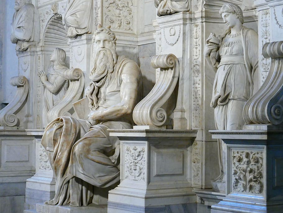 Michelangelo's Moses sculpture, part of the Tomb of Pope Julius II