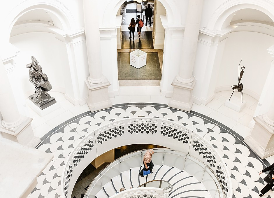 the atrium of the Tate Britain, probably London's prettiest museum