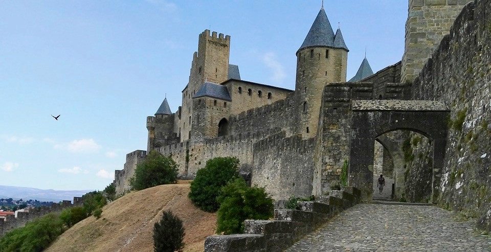the intact city walls of Carcassonne