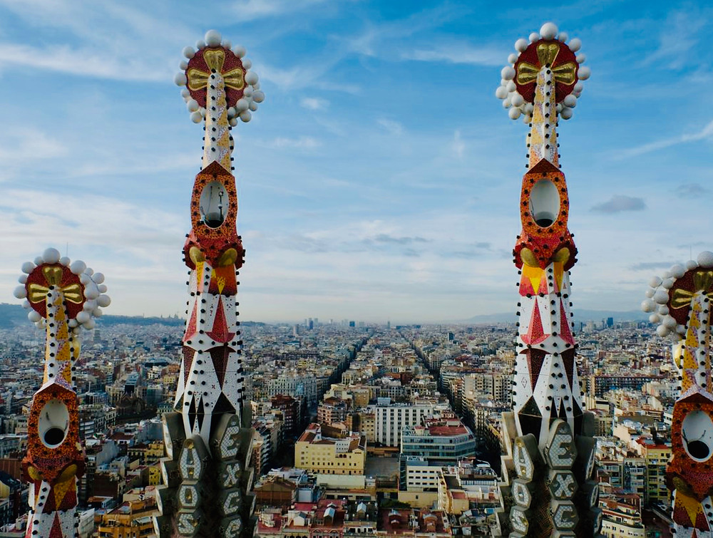 view of the Sagrada Familia spires and Barcelona