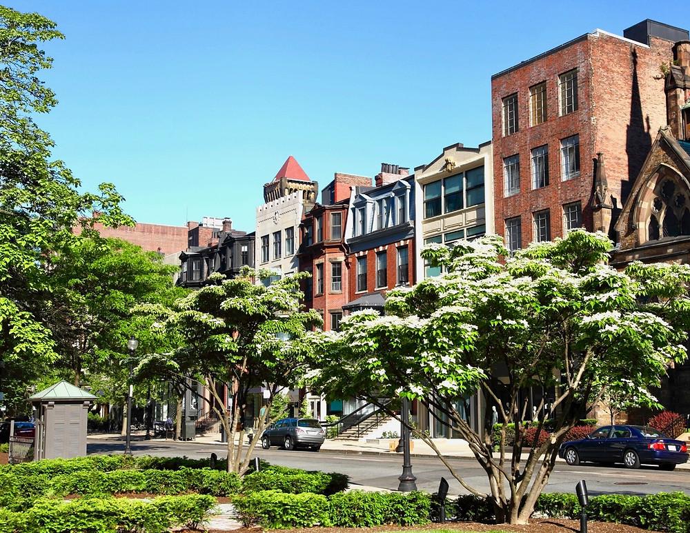 Newbury Street, a shopping district in Boston's Back Bay neighborhood