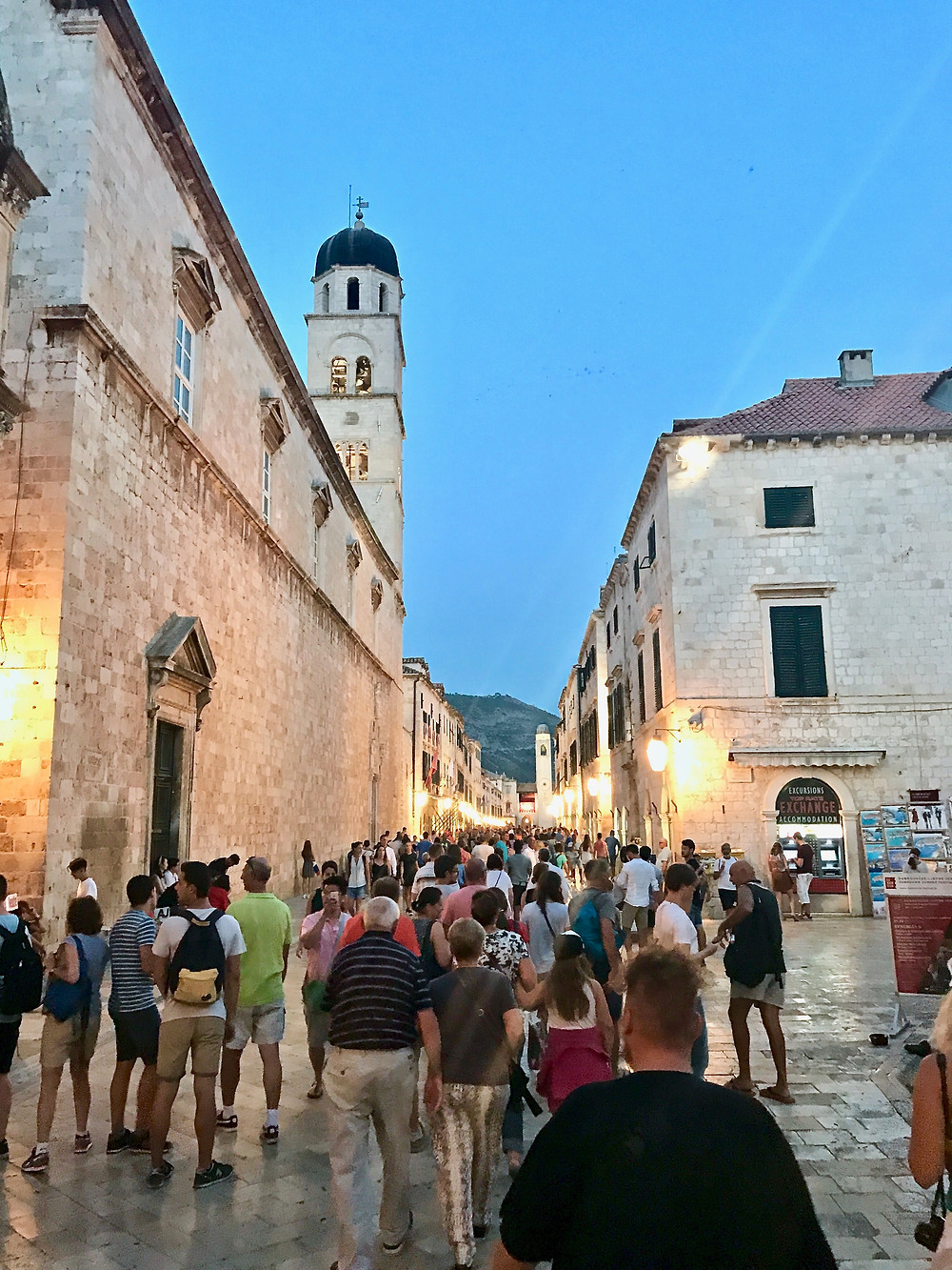 Even at night after the cruise ships have left, Dubrovnik is packed with tourists