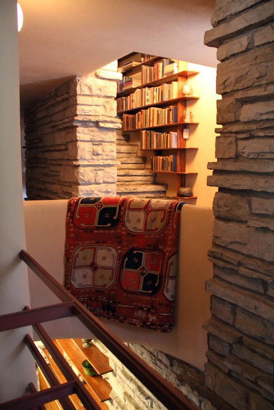 third floor stairwell library at Fallingwater