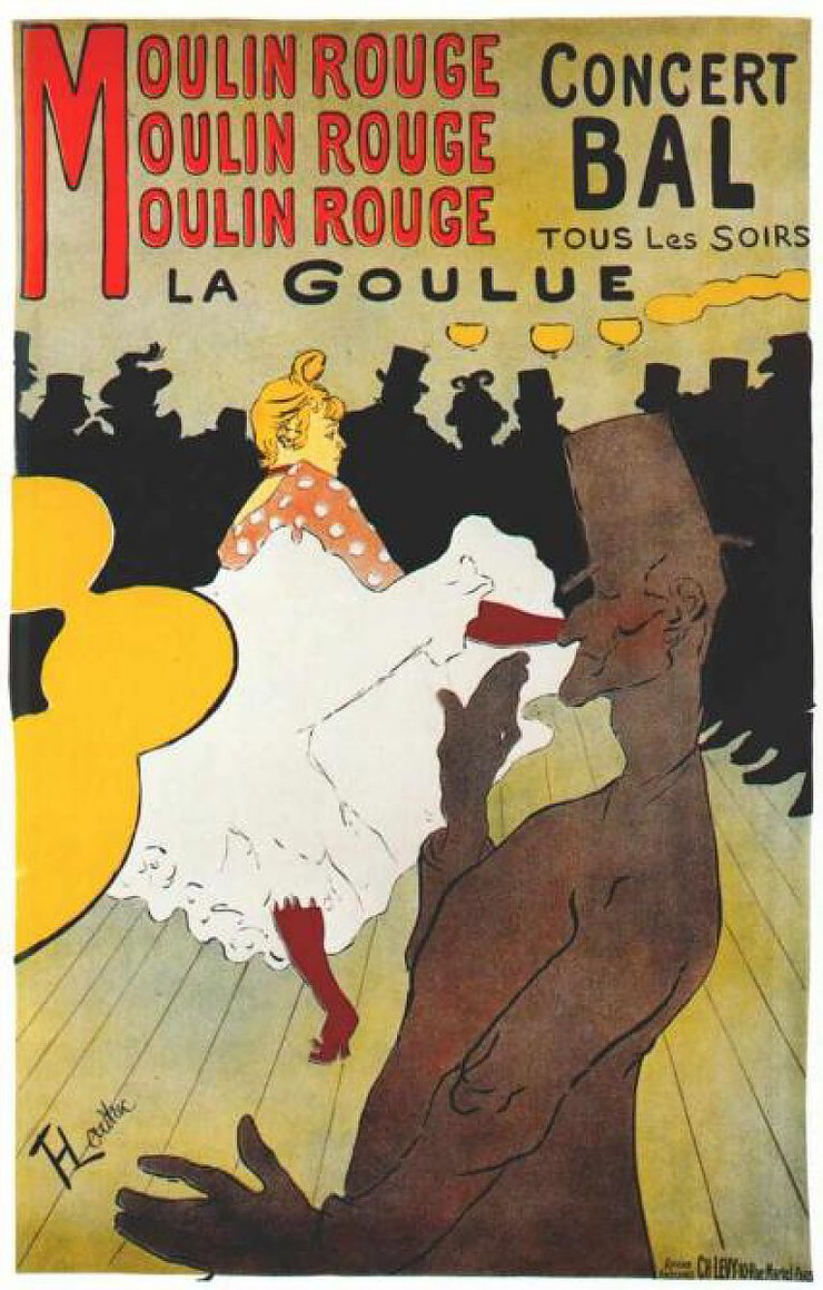 Moulin Rouge: La Goulue, 18921, a Toulouse-Lautrec poster at the museum.