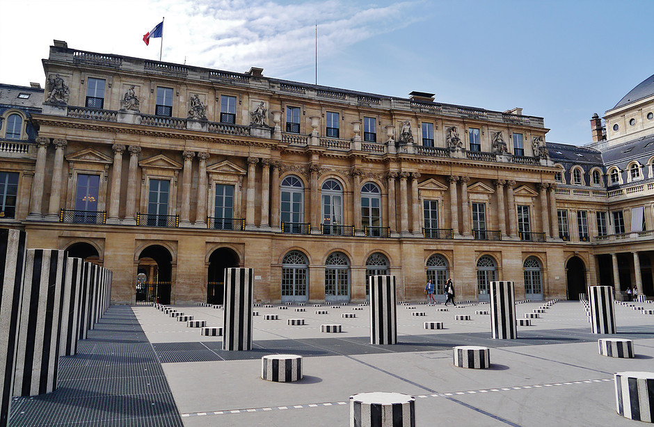 the 17th century Palais-Royal decorated with Daniel Buren's 1985-86 art installation, the Colonnes de Buren
