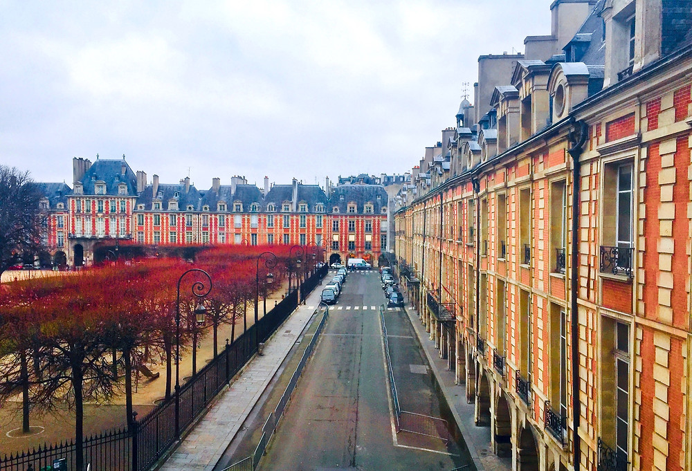 the Places des Vosges as seen from the Victor Hugo Museum one wintery day