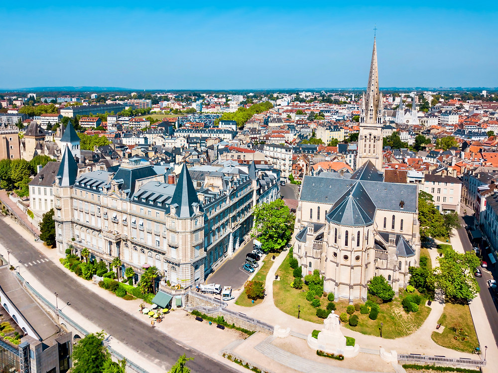 aerial view of the elegant town of Pau France